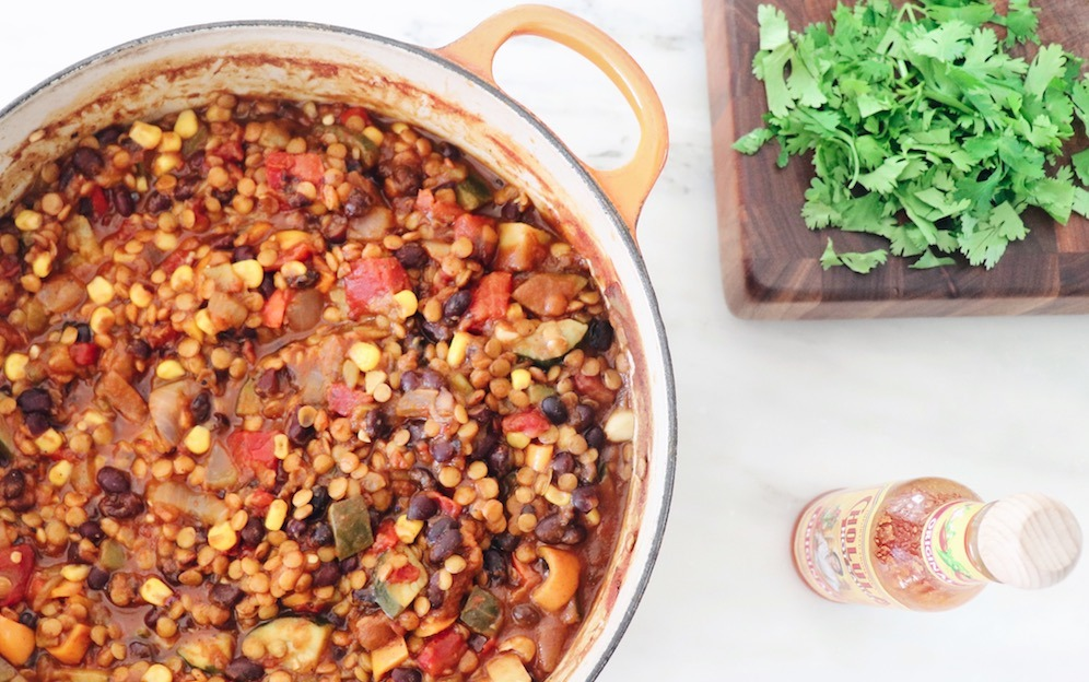 Healthy Fall Chili Recipe: Pumpkin Black Bean And Lentil Chili featured by top US wellness blogger, Elizabeth Finch Wellness