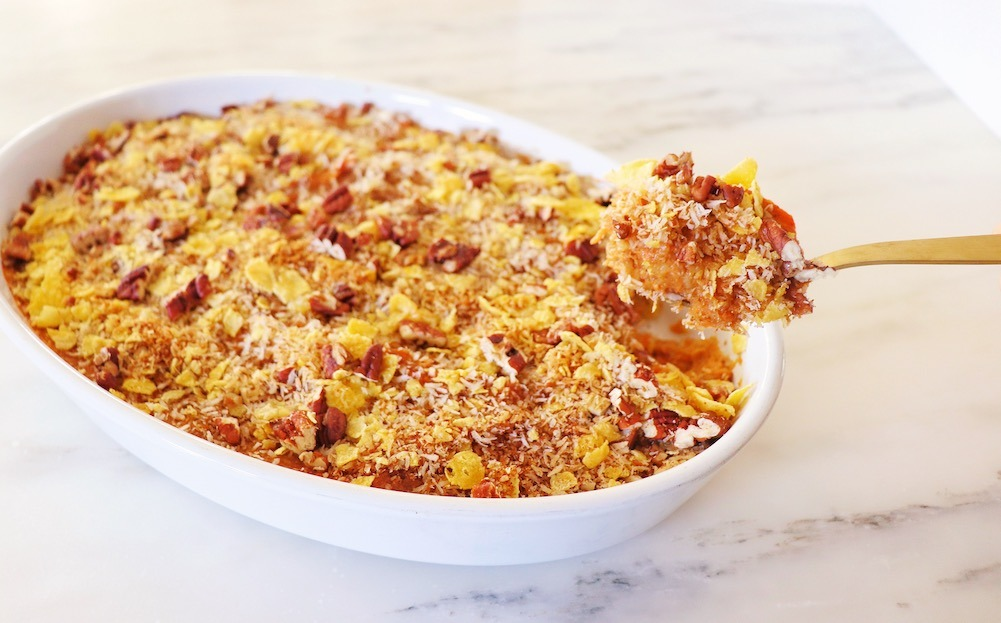 Dairy Free Sweet Potato Casserole Recipe featured by top US wellness blogger, Elizabeth Finch Wellness
