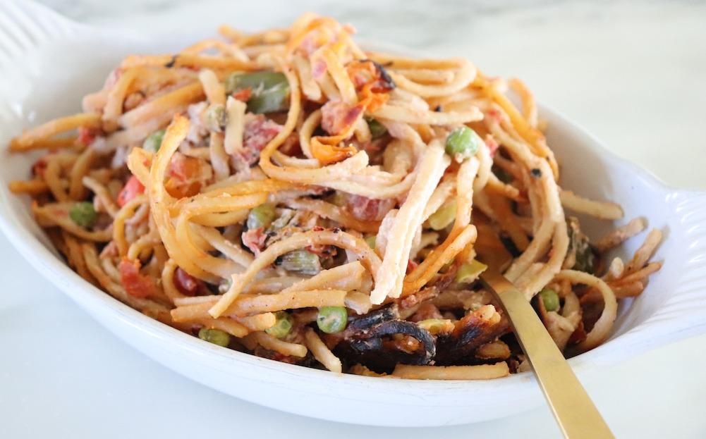 Cashew Cheesy Spaghetti Recipe {Vegan, Dairy Free}