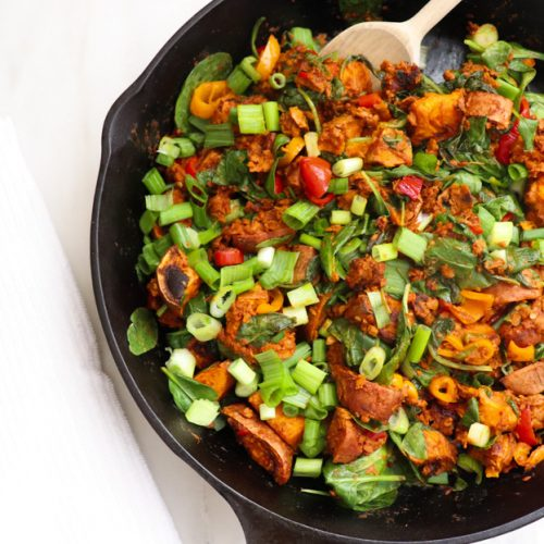 Vegan Chorizo Sweet Potato Skillet Recipe featured by top US wellness blogger, Elizabeth Finch Wellness