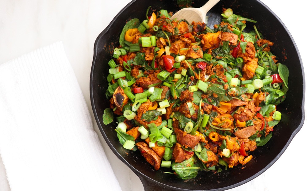 Healthy Vegan Dinner Ideas: Vegan Chorizo Sweet Potato Skillet Recipe