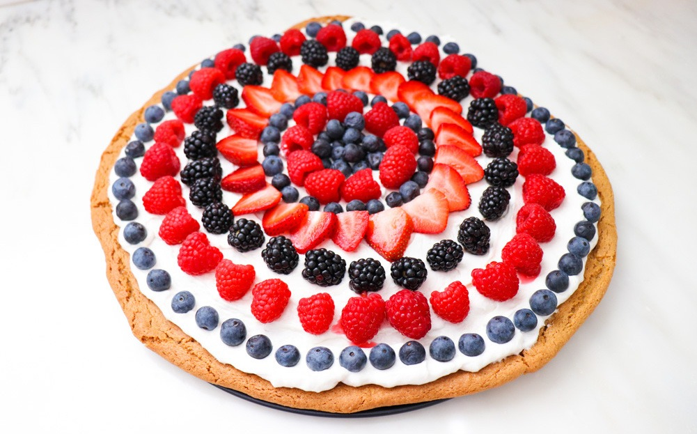 Fruit Cookie Pizza Recipe featured by top US wellness blogger, Elizabeth Finch Wellness
