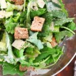 easy caesar salad recipe featured by top US food blogger, Elizabeth Finch Wellness