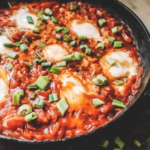 Vegetarian Shakshuka Recipe featured by top US wellness blogger, Elizabeth Finch Wellness