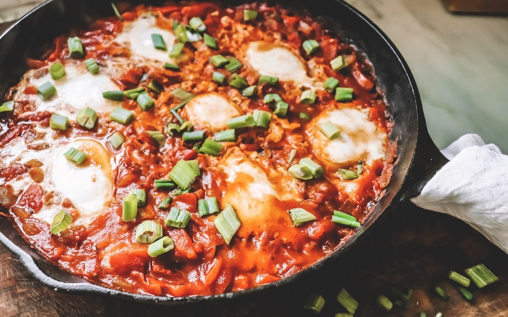 Vegetarian Shakshuka Recipe featured by top US wellness blogger, Elizabeth Finch Wellness