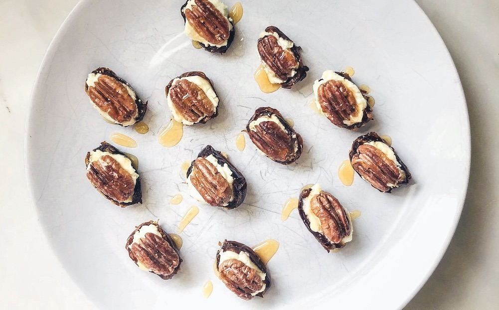 Goat Cheese Stuffed Dates With Honey
