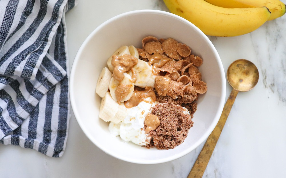 Yogurt Breakfast Bowl With Peanut Butter and Banana