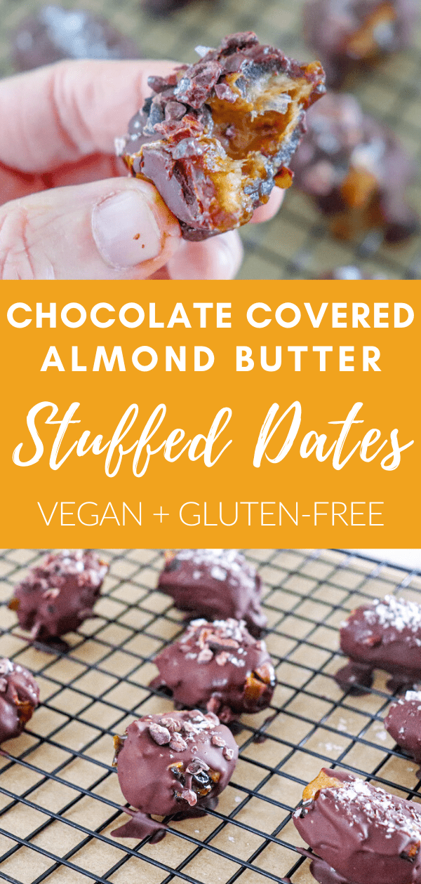 chocolate covered almond butter stuffed dates