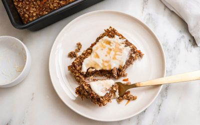 Healthy & Heavenly Carrot Cake Baked Oatmeal With Coconut Butter Frosting