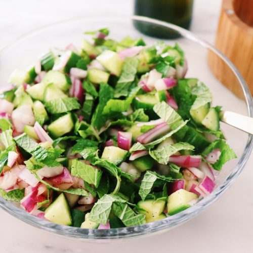 cucumber red onion salad with mint