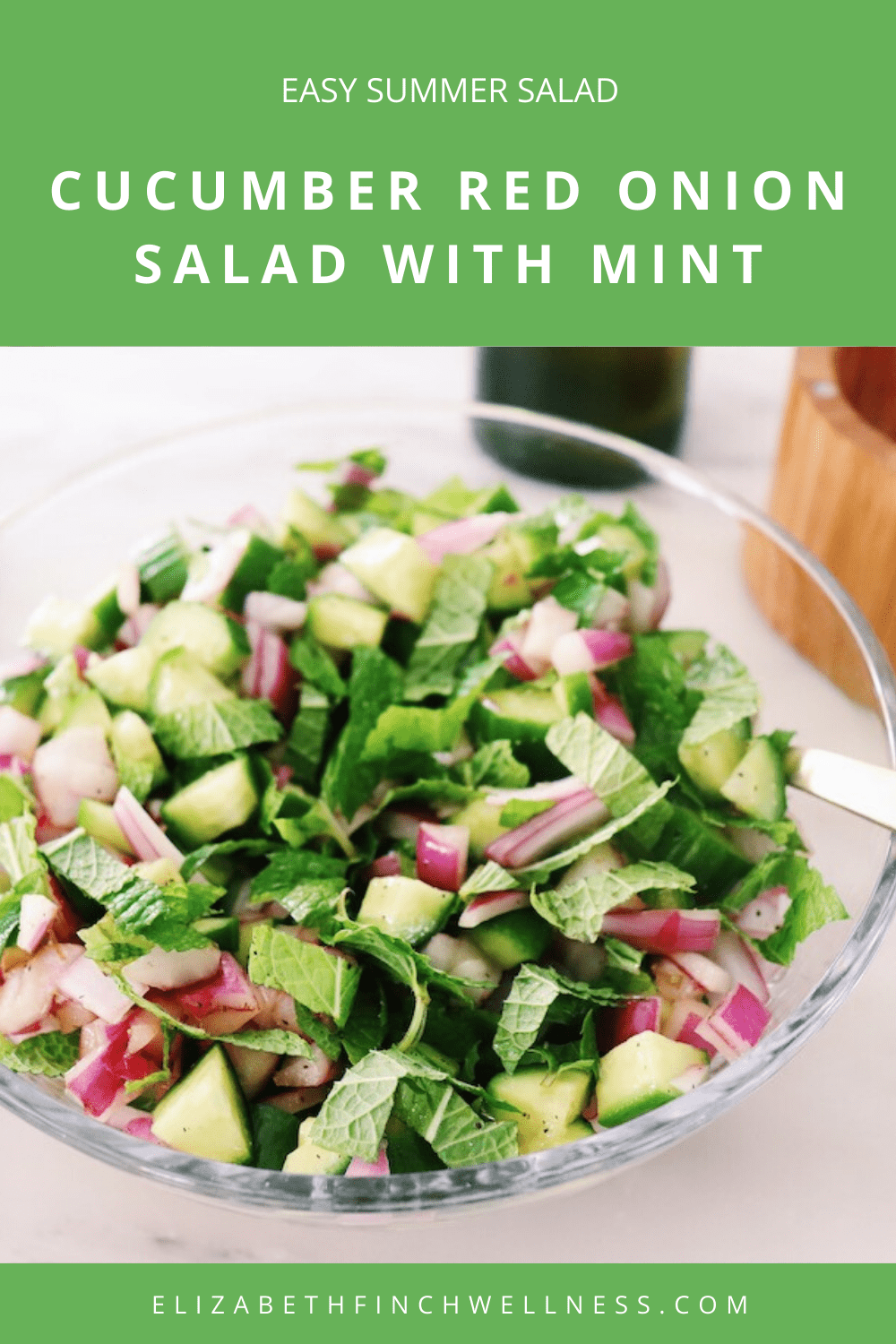 Easy Summer Salads: A Refreshing Cucumber Red Onion Salad With Mint recipe featured by top US wellness blogger, Elizabeth Finch Wellness.