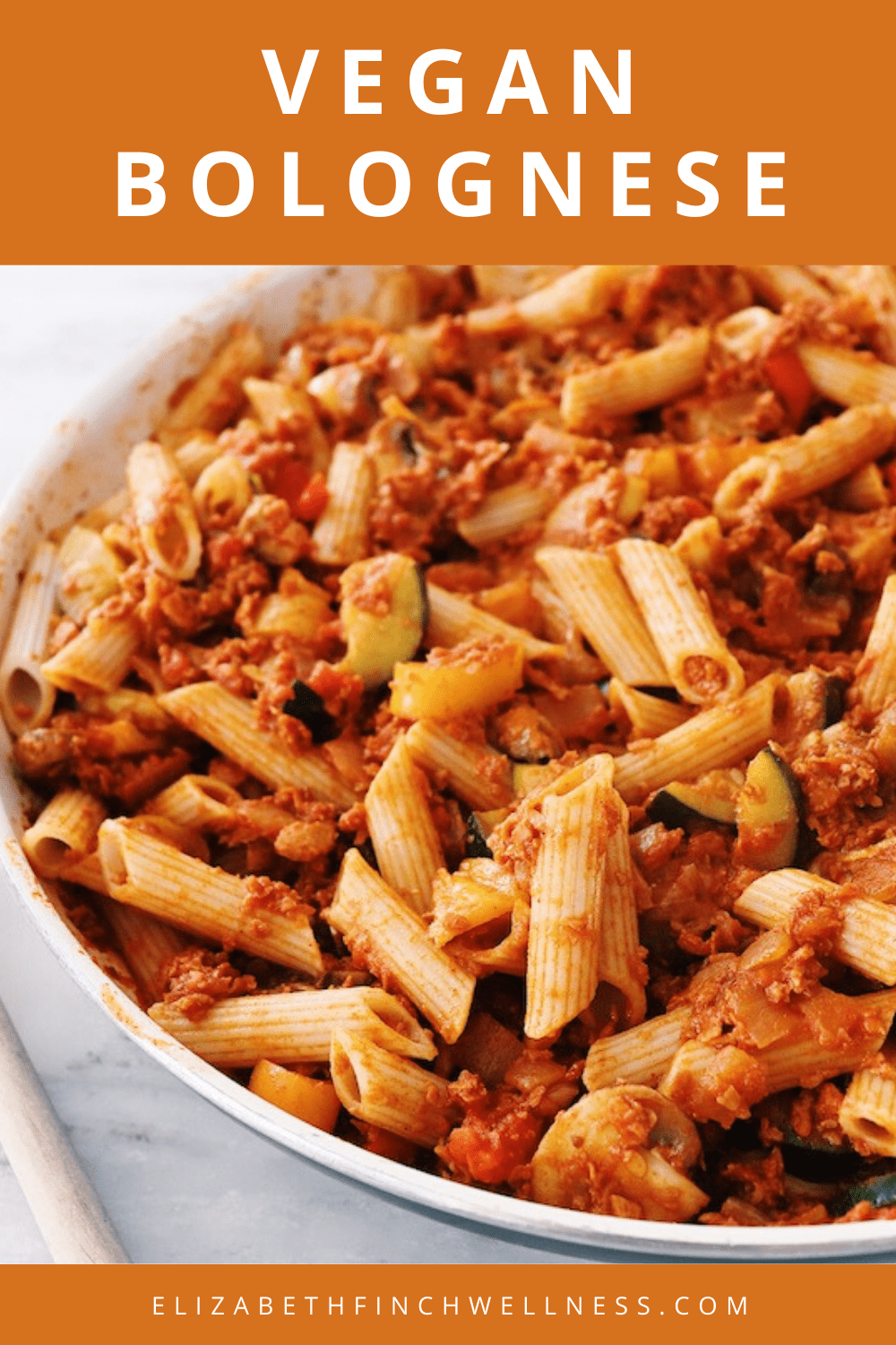 Easy Pasta Dish: Delicious Vegan Bolognese Recipe featured by top US wellness blogger, Elizabeth Finch Wellness