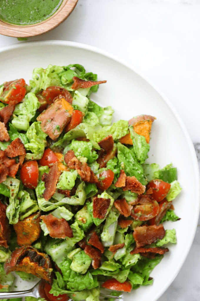 Pesto BLT Salad Recipe | Elizabeth Finch Wellness