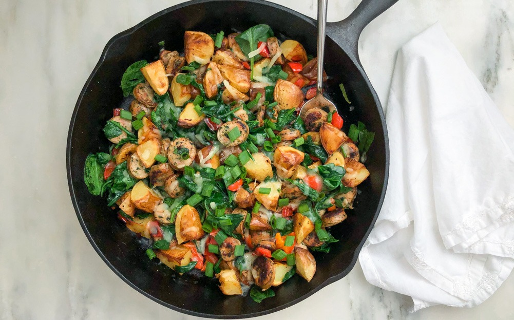 Easy Chicken Sausage and Veggie Skillet from Elizabeth Finch Wellness, top US health and wellness blogger featuring healthy recipes and healthy lifestyle tips.